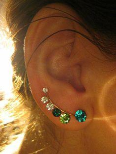 Ear Sweep Wrap - Cuff Earring with Swarovsky - Gold Filled - Bluegreen