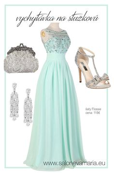 lacné šaty na stužkovú - mentolové šifónové Salons d23ea5d07cd