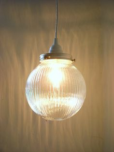 Moon Glow Holophane Globe Crisp Clean Ribbed Textured Thick Round Glass Hanging Pendant Lighting Fixture