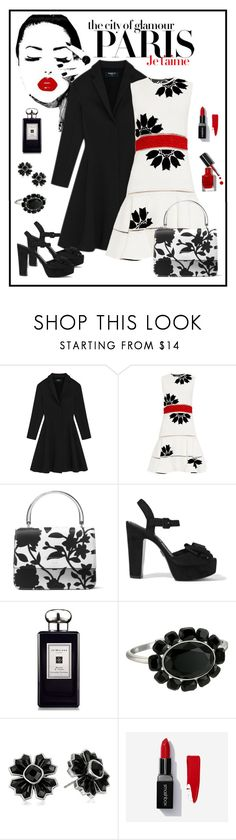 """""""Alexander McQueen Floral Intarsia Dress Look"""" by romaboots-1 ❤ liked on Polyvore featuring Alexander McQueen, Michael Kors, H&M, Jo Malone, Marc Jacobs, Smashbox and Bobbi Brown Cosmetics"""