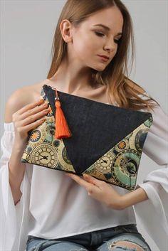 Kadın Jean Time Desenli Diyagonal Clutch
