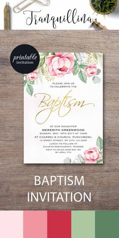 Girl Baptism Invitation Printable Floral Baptism Invitation, Christening Invitation Printable Baptism Party Invitation Pink Green Botanical Invite. tranquillina.etsy.com