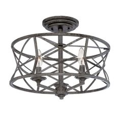 Lakewood Antique Silver 9-Inch Three-Light Semi-Flush Mount12.75 Inches High 16 Inches Wide 3 - 60 Watt Candle Bulbs