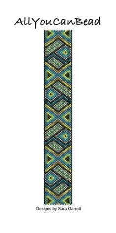 PATTERN ONLY. Create this beautiful peyote cuff bracelet.  Delica Beads. Odd count with 6 bead colors. 23 bead columns by 100 bead rows. 1 3/16 (29mm) wide by 7 (178mm) long.  Pattern includes a pattern preview, full bead legend, colored bead graph, complete word graph and directions on how to attach sliding bar clasp.  Note: I choose the color palette that looks best on the computer pattern. You may prefer to choose a different color palette.