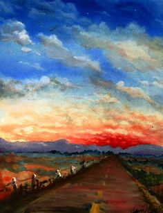 red highway print of watercolor landscape painting by printeranji, $25.00