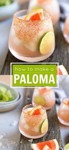 Easy Paloma Recipe - How to Make A Paloma - Cocteles Bebidas Mezcal Cocktails, Cocktail Drinks, Fun Drinks, Yummy Drinks, Cocktail Recipes, Beverages, Healthy Cocktails, Recipes Dinner, Recipes
