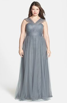 Jenny Yoo 'Annabelle' Convertible Tulle Column Dress (Regular & Plus Size) | Nordstrom chiffon panels on skirt used to create drapes over boned bodice