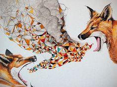 Smoke Signals - Fox Tribal Modern Geometric Print - Open Edition Giclee Print - Sized 18 x 14 - by Bark Decor from barkdecor on Etsy. Art And Illustration, Illustrations, Art Fox, Smoke Signals, Motifs Animal, Indie Art, Fox Print, Wow Art, Art Mural