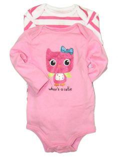 2 Pack of Long Sleeve Baby Girl Bodysuits Owl « Clothing Impulse