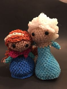 Disney's Frozen Elsa & Anna Rubber Band Figure by BBLNCreations on Etsy Loomigurumi Amigurumi Rainbow Loom