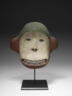 Yup'ik Bear mask, Artist Unknown, Mask, 19th century, Wood (probably spruce), pigments, string11 3/16 x 11 1/2 x 3 1/8 in