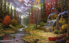 Thomas Kinkade The Good Life art painting for sale; Shop your favorite Thomas Kinkade The Good Life painting on canvas or frame at discount price. Thomas Kinkade Art, Kinkade Paintings, Thomas Kincaid, Art Thomas, Fantasy Landscape, Beautiful Paintings, Amazing Artwork, Landscape Paintings, Oil Paintings