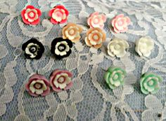 Flower Cabochon Earings by faeriemoonmagic on Etsy, $3.00