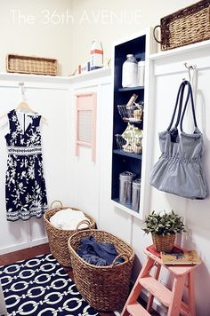 Amazing White and navy blue laundry room makeover. @the36thavenue #laundry_room #DIY