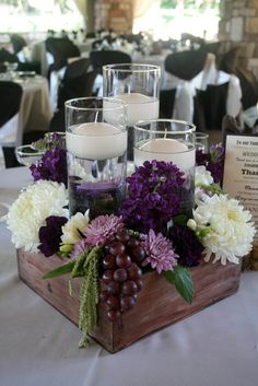 25 Simple and Cute Rustic Wooden Box Centerpiece Ideas to Liven Up Your Decor - Purple wedding centerpieces, Unique wedding centerpieces, Wedding decorations, Amazing wedding centerpieces, Rustic wedd - Rustic Table Centerpieces, Wooden Box Centerpiece, Unique Wedding Centerpieces, Unique Weddings, Centerpiece Ideas, Diy Wedding Table Decorations, Purple Flower Centerpieces, Wedding Favors, Rustic Weddings