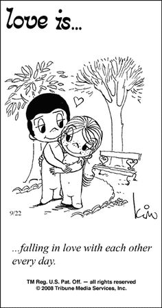 """love is... falling in love with each other every day"".  Comic strip by Kim Grove Casali #loveis #kimcasali"