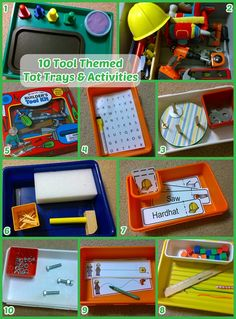 10 tot trays and activities about TOOLS! A fun theme for our nearly 3-year old boy.