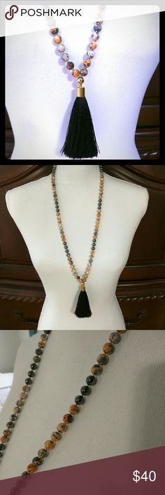 "Orange and Grey Beaded Black Tassel Necklace Accented with tiny gold spacer beads and other gold findings. 36"" Calista Rose Jewelry Necklaces"