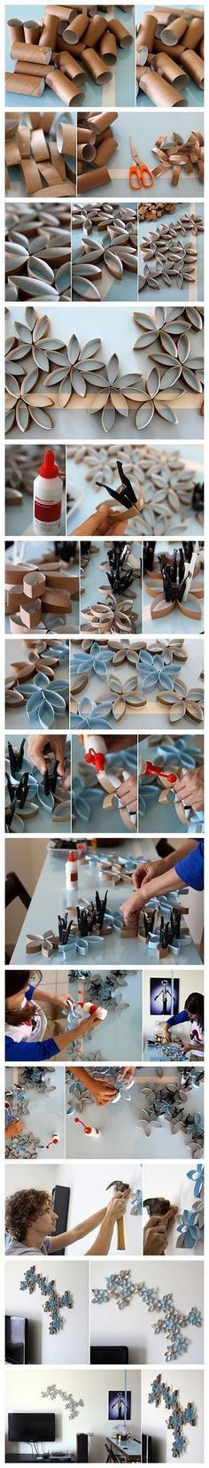 How to DIY toilet paper roll wall art project (Diy Paper Towel) Toilet Paper Roll Art, Rolled Paper Art, Wall Decor Crafts, Diy Wall Art, Wall Decorations, Diy Decoration, 3d Wall, Home Crafts, Fun Crafts