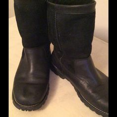 "UGG Sz 10 Black Suede & Leather Boots Good used condition with sheepskin lining. Boot height 9.5"". Bin#41-081S UGG Shoes Winter & Rain Boots"