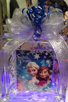 Frozen Lighted Glass Block Night Light Room by HollySherrysWreaths