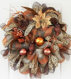 XL Christmas Copper Deco Mesh Wreath, Cheetah Ribbon, Christmas Ornaments, Owls, Feathers, Poinsettia, Office Home Decor for Wall or Door