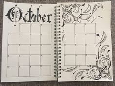 Went for kind of a Gothic theme for October, what do you think? Bullet Journal Layout Daily, Bullet Journal October, Bullet Journal Printables, Bullet Journal Writing, Bullet Journal Ideas Pages, Bullet Journal Inspiration, Journal Pages, Journals, Notebooks