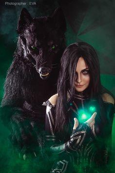 Hela & Fenris Wolf (Thor: Ragnarok) by Polina Belyaeva and Tatiana Vivean Ms Marvel, Marvel Hela, Marvel Women, Marvel Art, Marvel Comics, Dark Fantasy Art, Fantasy Art Women, Beautiful Fantasy Art, Fantasy Girl