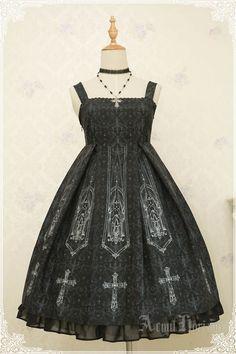 AcYut Horizon -The Slient Church- Gothic Lolita High Waist Jumper Dress