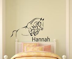 This nice personalized horse decal would be great for any horse person. The decal measures approx. 24 X 40 inches when assembled as shown. You