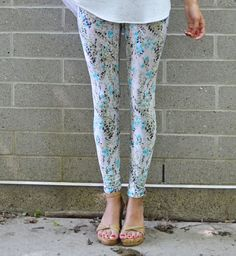 Floral leggings.  White turquoise black green pale by birdapparel, $46.00