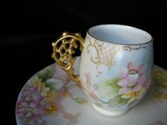 RARE 1903 Signed FLORAL & GOLD SCROLL T Limoges Petit Fours Set Limoges China, Pink Cups, China Display, Vintage Tableware, Teapots And Cups, Chinese Tea, Tea Service, Coffee Set, China Porcelain