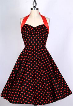 50s Red Dot on Black Swing Dress 82201