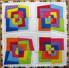 Made for the Little Quilt, sew, vote swap group. Being mailed today. Scrappy Quilts, Easy Quilts, Mini Quilts, Modern Quilt Patterns, Quilt Block Patterns, Quilt Blocks, String Quilts, Log Cabin Quilts, Contemporary Quilts