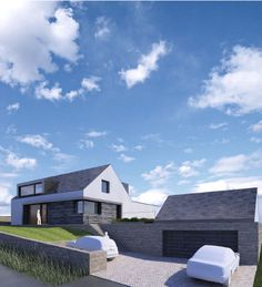 0149 Derbyshire Passivhaus - Render of a new build replacement dwelling in Green Belt aiming for Passivhaus certification. The site is situated on a steeply sloping site with superb views to the rear.