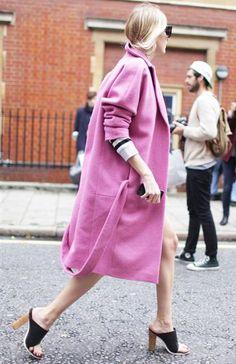 Pink Is Trending. Pink Coat, Street Style Spring Summer2014London #Fashion Week #trending #pink