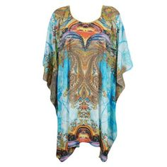 4e8dc1f69c Mogul Interior - Mogul Womens Short Kimono Kaftan Colorful Jewel Print U  Neckline Lightweight Beach Cover Up Swimwear Evening Holiday Caftan House  Dress One ...