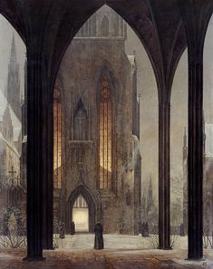 Cathedral in Winter by Ernst Ferdinand Oehme, German watercolorist and landscape painter, 1797-1855. Influenced by Caspar David Frederick and student in the Dresden Art Academy of Dresden, Germany.  This watercolor is especially nice for its quiet solitude and beckoning light. It hangs in the Galerie Neue Meister, Staaliche Kunstammlugen in Dresden, Germany. — A Thousand Winds)