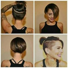 Coupes de cheveux courts et styles mignons femmes - The UnderCut Cute Short Haircuts and Styles Women - The UnderCut Bob-with-Undercut-Sides Mignon Coupes de cheveux courtes et Styles Femmes Bob Hairstyles 2018, Pixie Hairstyles, Short Hairstyles For Women, Pixie Haircuts, Brown Hairstyles, Short Hair For Women, Short Brunette Hairstyles, Women Short Hairstyles, Cute Short Haircuts