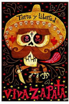 Tierra Y Libertad - An illustration of Emiliano Zapata by Mexican artist Jorge Gutierrez, for The Iconoclastic Dead project. Mexican Artists, Mexican Folk Art, Mexican Bar, Artist Canvas, Canvas Art, Illustrations, Illustration Art, Day Of The Dead Art, Chicano Art