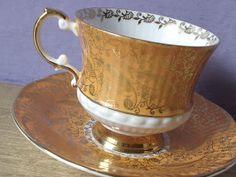 Vintage orange tea cup set, Elizabethan English tea cup and saucer, orange and gold bone china tea set, via Etsy