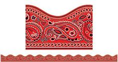 Red Bandana Bulletin Board Trimmer, Scalloped