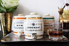 Vintage Set of Ceramic Liquor Decanters