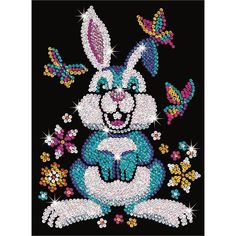 Binky the Bunny craft is from our Sequin Art Red range. Binky's shiny silver and blue fur twinkles, surrounded by bright coloured butterflies and flowers. Kids Craft Supplies, Craft Kits, Kit Creation, Binky Bunny, Cristal Art, Sequin Crafts, Rabbit Pictures, Art Du Fil, Art Carte