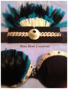 Tahitian Costume Set Strapless Bra top with matching Headpiece by HoniHoniCreations, $115.00
