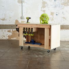 Check out this project on RYOBI Nation - If you are tight on space but large on ideas this bench is just what you need.  Sturdy and mobile this bench has an ingenious fold out wing that gives you over four square feet of additional work space when you need it.   Click here to download Shanty2Chic's project plans for this How-To!