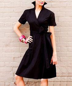 Black Sleek Shadow Wrap Dress - Shabby Apple