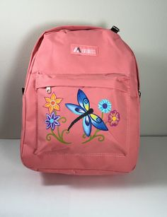 Dragonfly and Flowers Coral Everest Backpack by GulfLifebyNichole