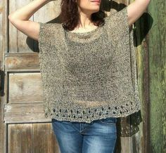 Items similar to Linen loose top for women, Hand knitted poncho sweater on Etsy Diy Knitting Gifts, Hand Knitting, Poncho Sweater, Knitted Poncho, Lace Top Dress, Loose Knit Sweaters, Summer Knitting, Knitwear Fashion, Loose Tops