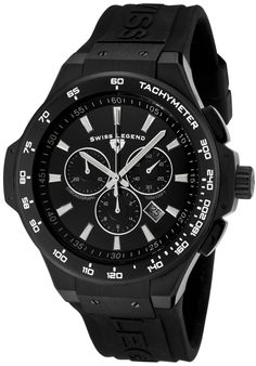 Price:$149.99 #watches SWISS LEGEND 40051-BB-01-R, This sporty Swiss Legend design is sure to grab anyone's attention with only a glimpse.